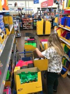 Shopping Cart full of school supplies