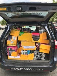 Van with schools supplies