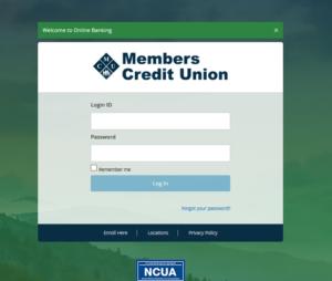 Online banking Login Screen